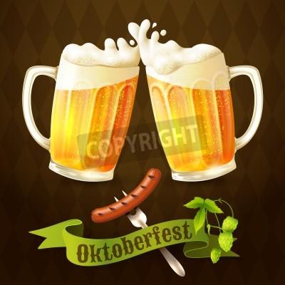 Fototapete Glass mug of light beer with sausage and hop branch Oktoberfest poster vector illustration.