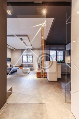 Glastur Im Wohnzimmer Fototapete Fototapeten Ecke Kuche Mobel