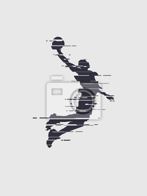 Glitch Basketball Spieler Silhouette Trend Glitch Vektor Spieler Sprung für den Slam Dunk