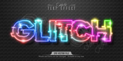 Fototapete Glitch text, neon style editable text effect