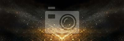 Fototapete glitter vintage lights background. black and gold. de-focused