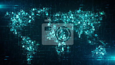 Fototapete Global business cloud computing service of big data information technology  - Conceptual 3D render