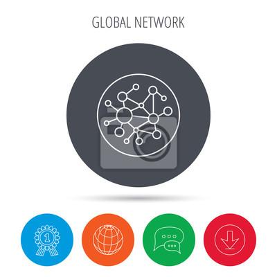 Globale netzwerk-symbol. soziale verbindung zeichen. fototapete ...