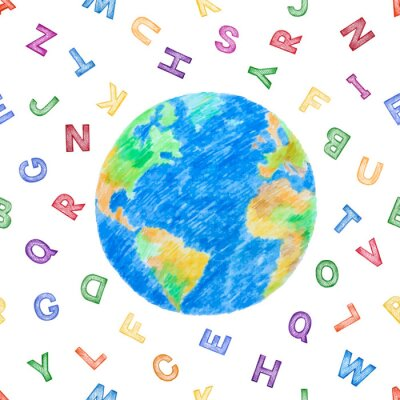 Globe and color alphabet