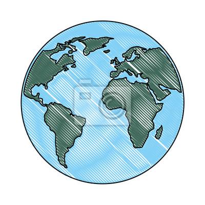 Karte Erde.Fototapete Globus Welt Planeten Karte Erde Bild Vektor Illustration Zeichnung