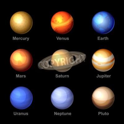 Fototapete Glossy Farbe Planeten der Sonnensystem-Ikonen. Vektor.