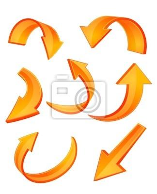 Glossy orange Pfeil-Symbole