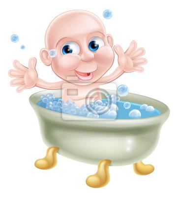 Glücklich Cartoon Baby In Badewanne Fototapete Fototapeten Wanne