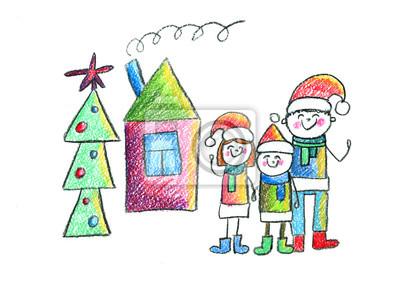 Kindergarten Weihnachten.Fototapete Gluckliche Familie Mit Haus Und Weihnachtsbaum Kinder Zeichnung