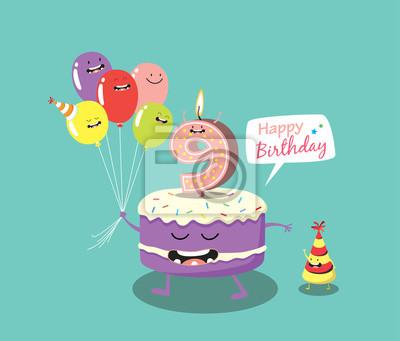 Gluckliche Geburtstagskarte Lustige Kuchen Anzahl Kerze Und