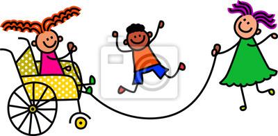 Glückliche Karikaturstockkinder, die ein überspringendes Seilspiel spielen.