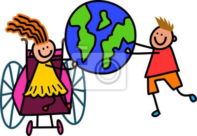 Glückliche Karikaturstockkinder, die eine Weltkugel anhalten.