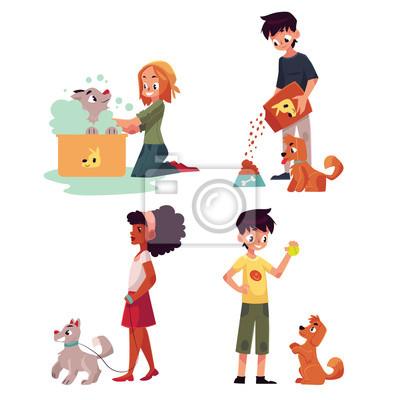 gl ckliche kinder f tterung waschen wandern ein hund spielen fototapete fototapeten l nge. Black Bedroom Furniture Sets. Home Design Ideas