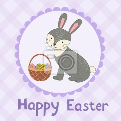 Glückliche Ostern-Grußkarte mit einem netten Kaninchen.