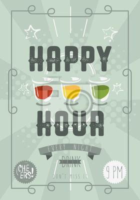 Glückliche Stunden-Konzept-Plakat-Schablone. Abbildung.