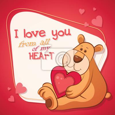 Glückliche Valentinsgrußtagenkarte mit nettem Teddybären