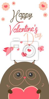 Gluckliche Valentinstag Einladung Mit Niedlichen Eule Vektor