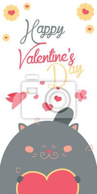Gluckliche Valentinstag Einladung Mit Niedlichen Katze Vektor