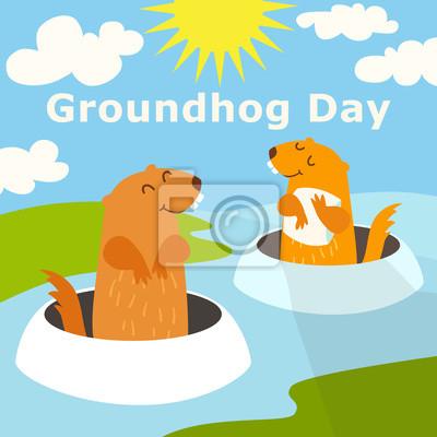 Glücklicher Groundhog Tag. Farbige lustige Vektor-Illustration mit Text. Zwei groundhog peeking aus einem Loch in den Boden