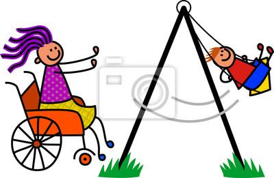 Glücklicher Karikaturstockjunge, der auf die Schaukel durch seine behinderte Mama gedrückt wird.