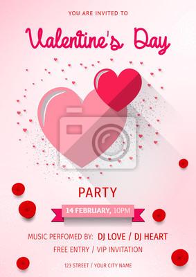 Glucklicher Valentinstag Party Flyer Liebe Einladungskarte