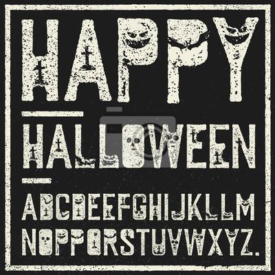 Glückliches Halloween dekoratives Alphabet. Grunge Briefmarken mit furchtsamen Elementen (Fledermäuse, Gräber, Kürbisse). Vector Schriftart Vorlage.
