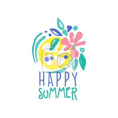Glückliches sommerlogo, aufkleber für sommerferien, restaurant ...
