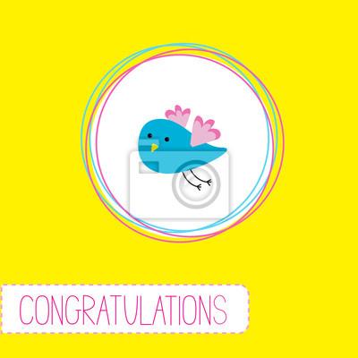 Glückwunsch-Karte mit niedlichen blauen Vogel
