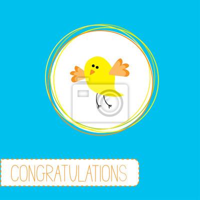 Glückwunsch-Karte mit niedlichen gelben Vogel