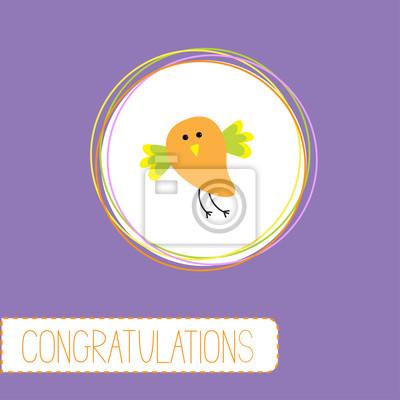 Glückwunsch-Karte mit niedlichen orange Vogel