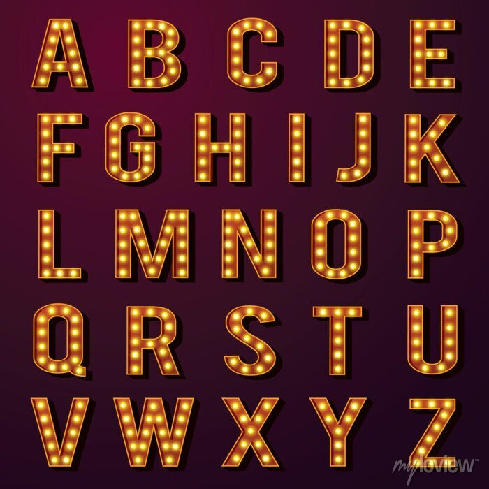 Fototapete Glühbirne Alphabets Set