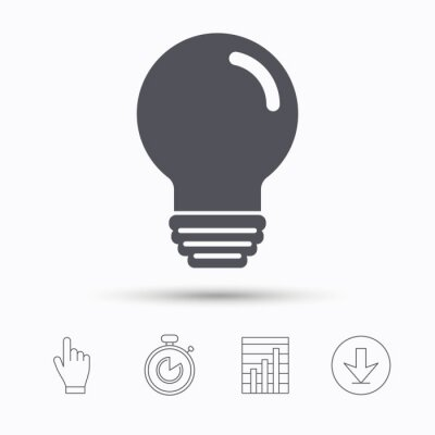 Glühbirne-symbol. lampe zeichen. beleuchtung-symbol. stoppuhr-timer ...