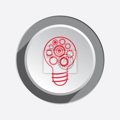 Glühbirne-symbol. zahnräder, zahnrad in der elektrischen lampe ...