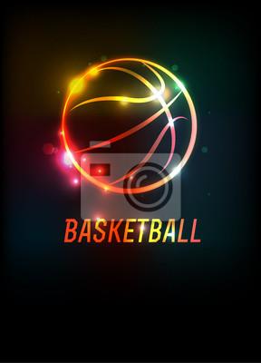 Glühende Basketball-Ikonen-Hintergrund-Illustration