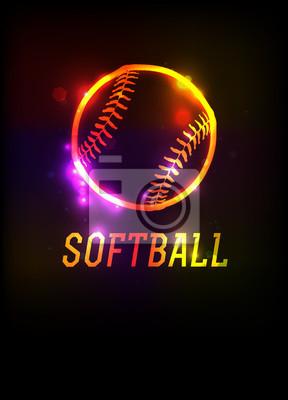 Glühende Softball-Ikonen-Hintergrund-Illustration