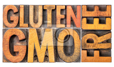 gluten and GMO free banner in wood type