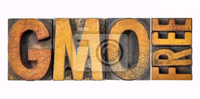 GMO-freies Banner in Holzart