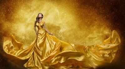 Fototapete Gold-Art- und Weisebaumuster Kleid, Frau-goldenes Silk Kleid-flüssiges Gewebe