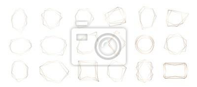 Fototapete Gold collection of geometric frame. Decorative element for logo, branding, card, invitation.