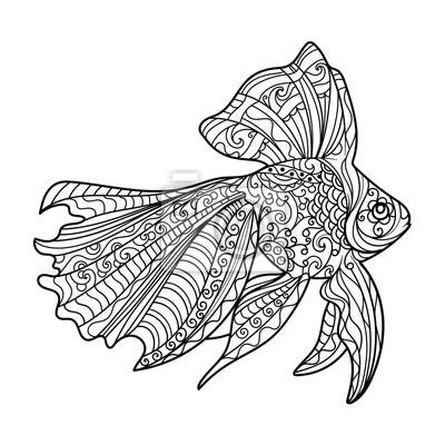 Gold Fisch Malbuch für Erwachsene Vektor