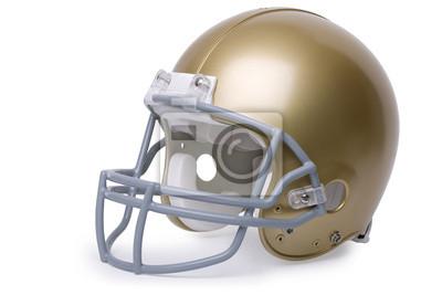 Gold-Football-Helm auf einem weißen Hintergrund isoliert