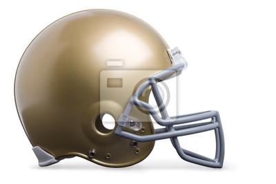 Gold-Football-Helm in der Profilansicht auf einem weißen backgro isoliert