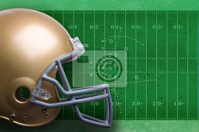Gold-Football-Helm in der Profilansicht gegen ein Feld mit DiagRA