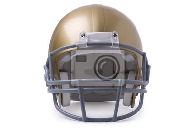 Gold-Football-Helm in der Vorderansicht auf einem weißen backgroun isoliert