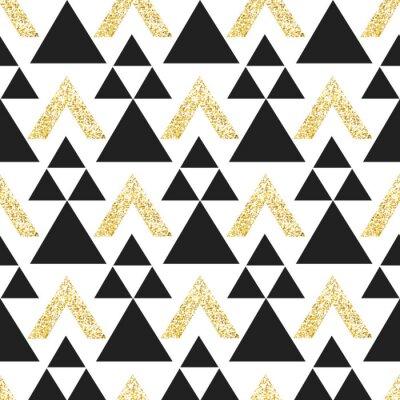 Gold geometrischen Dreieck Hintergrund. Zusammenfassung nahtlose Muster mit Dreiecken in Gold und dunkelgrau.