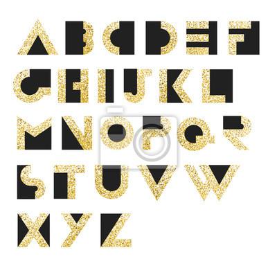 Gold Geometrisches Retro Alphabet. Art Deco-Stil. Typ, Schriftart, vint