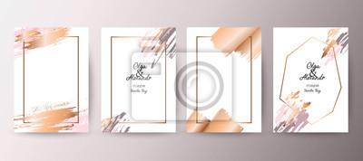 Fototapete Gold, rosa Broschüre, Flyer, Einladung, Karte