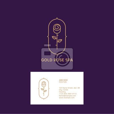 Gold Rose Logo Und Visitenkarte Spa Oder Kosmetik Emblem