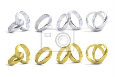 Gold Und Silber Hochzeit Verlobungsringe Isoliert Auf Weiss Vektor