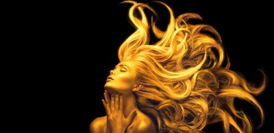 Fototapete Gold Woman. Beauty fashion model girl with Golden make up, Long hair on black background. Gold glowing skin and fluttering hair. Metallic, glance Fashion art portrait, Hairstyle. Fashion art design